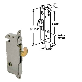 Sliding Glass Door Latch, Mortise - Round Face