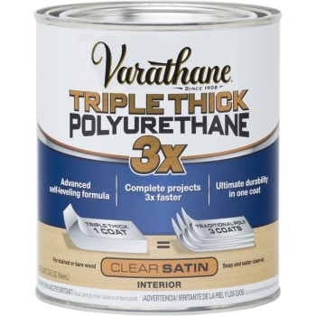 Buy the rust oleum 284473 varathane triple thick polyurethane satin finish quart hardware world for Exterior polyurethane wood finish