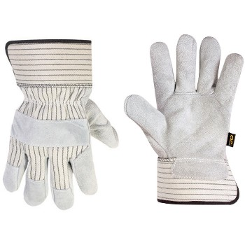 Leather Palm Safety Cuff Work Gloves ~ Large