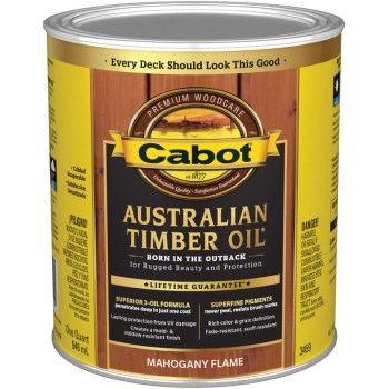 Cabot 140.0003459.005 Australian Timber Oil, Mahogany Flame ~ Quart
