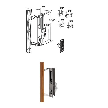 Sliding Door Handle/Lock - Black with Wood Handle