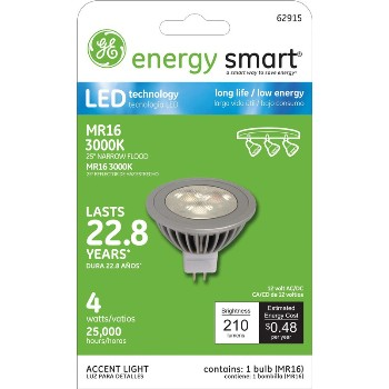 General Electric  62915 LED MR16 Indoor Floodlight - 4 watt/25 watt