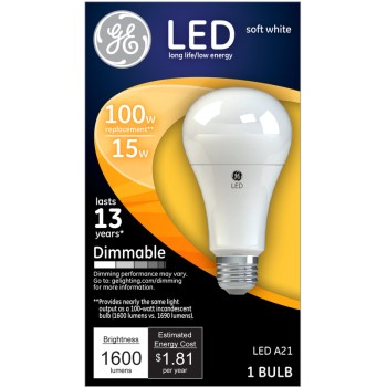 Dimmable LED Light Bulb - 15 watt/100 watt ~ Soft White