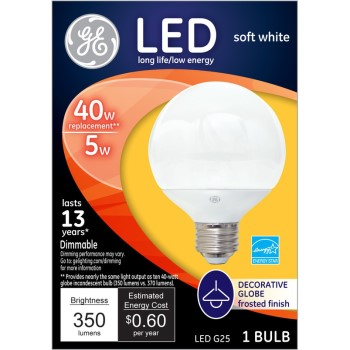 General Electric  37906 LED Globe Bulb - 5 watt/40 watt ~ Frosted