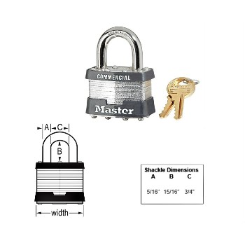 Tumbler Padlock,  Laminated - Steel Pin ~ KA1