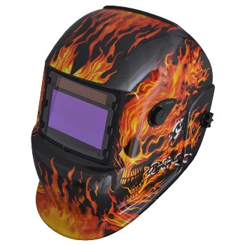 Welding Helmet, Flaming Skull