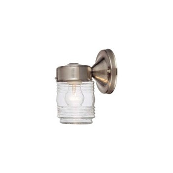 Outdoor Light Fixture, Jelly Jar Satin Nickel