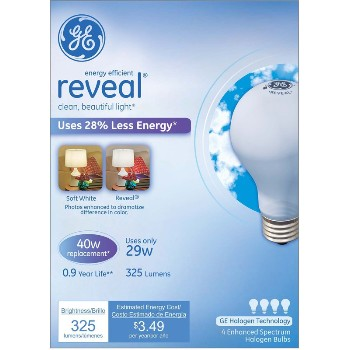 General Electric  67769 Reveal Energy Efficient Halogen Light Bulb - 29 watt/40 watt