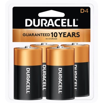 Duracell 041333430010 Cell Battery, 4 pack, D