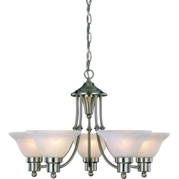 "Bristol Design Series 5-Light Chandelier, Satin Nickel Finish ~  24"" x 15"""