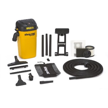 Wet Dry Wall Mount Shop Vacuum, Corded - 5 Gallon