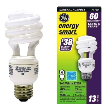 Compact Fluorescent, Soft White ~  13 Watt