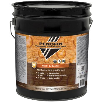 Transparent Oil  Stain & Sealer for Decks/Siding/Fences, Redwood Finish ~  5 Gallon Container