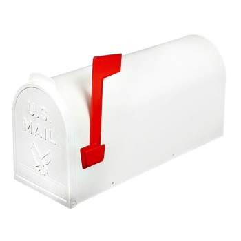 Classic Rural #1 Mailbox, White w/Red Flag