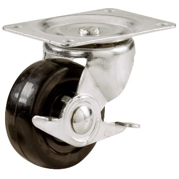 Swivel Casters, Rubber Wheel -  w/Brake ~ 3""