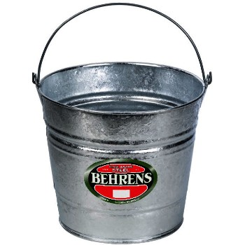 Behrens Mfg  1214 Galvanized Pail w/Handle ~ 14 Qt Capacity