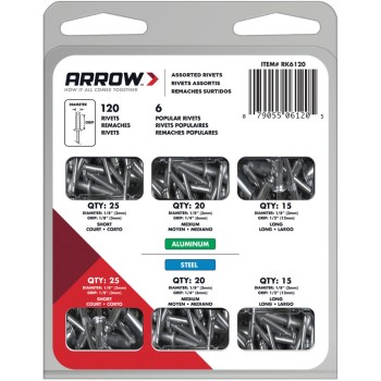 Arrow Rivet Asstmt Kit 120-pc RK6120