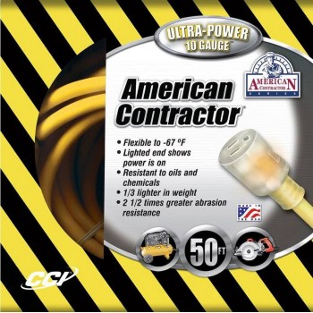 American Contractor Series Outdoor Extension Cord, Yellow ~ 50 feet