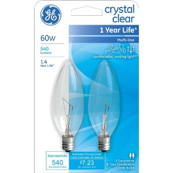 General Electric  76229 Blunt Tip Bulb, Clear - 60 Watt