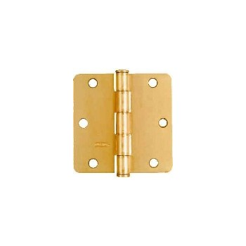 Satin Brass Door Hinge, Visual Pack 512 rc 3 - 1/2 inches
