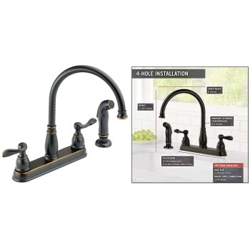 Windemere Design Two Handle Kitchen Faucet,  Oil Rub'd Bronze Finish w/Sprayer