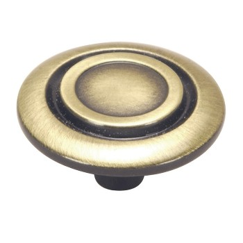 Scroll Cabinet Knob, Antique Brass