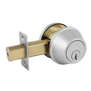 Comm'l Single Cylinder Deadbolt-Brushed Chrome