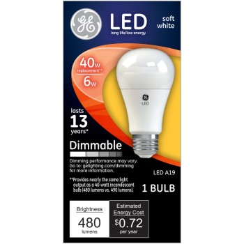 Dimmable LED Light Bulb - 6 watt/40 watt ~ Soft White