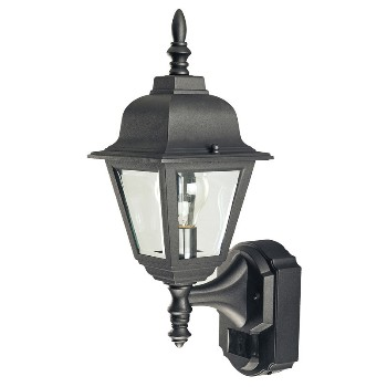HeathCo SL-4191-BK Motion Sensing Lantern, Country Cottage ~ Black