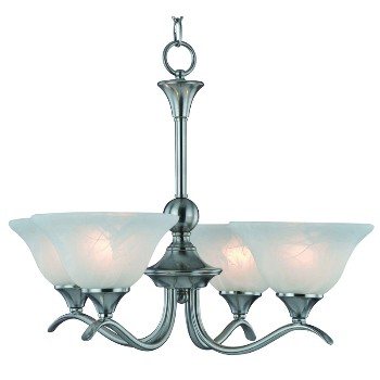 Chandelier, Dover ~ 4 light, Satin Nickel