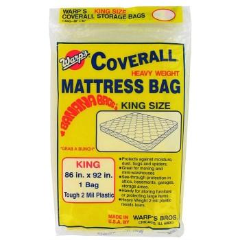 """Warp Bros CB-86 King-Size Mattress Storage Bags, Yellow ~ 86"""" W x 92"""" L x 2 Mil"""