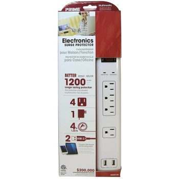 4 Outlet Surge Protector w/USB Charger + 4' Cord