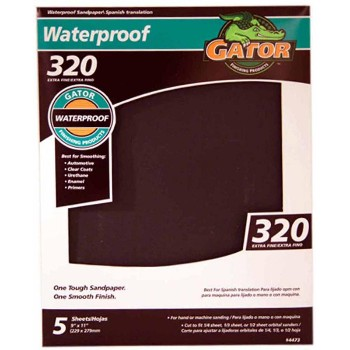 "Ali Industries 4473 Waterproof Sandpaper, 9"" x 11"" ~ 320 Grit"