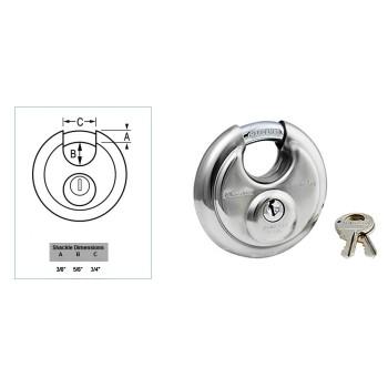 MasterLock 40KADPF #0370 Wide Stainless Steel Discus Padlock w/Shrouded Shackle ~ Key Code 0370