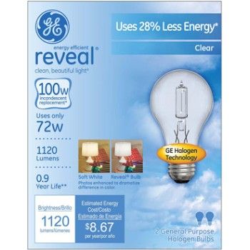 Reveal Energy Efficient Halogen Light Bulb - 72 watt/100 watt ~ Clear