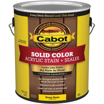 Cabot 140.0001807.007 Solid Color Acrylic Deck Stain,  Deep Base ~ Gallon