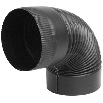 Black Corrugated Crimped End Elbow ~ 90 Degrees