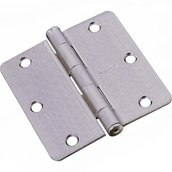 "1/4"" Radius Round Corner Door Hinge, Satin Nickel Finish ~ 3"""