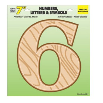 House Number 6, Simulated Wood 7 inch