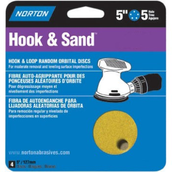 "Hook & Sand Disks, 5 Holes - 80 Grit ~ 5"" x 5"""