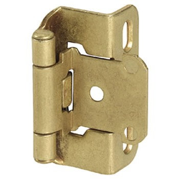 Overlay Hinge - Self Closing - Burnished Brass Finish - 0.5 inch