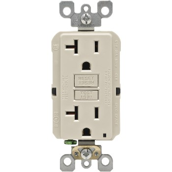 Non-TR Self-Test Smartlock GFCI Receptacle, Light Almond ~ 20 amp