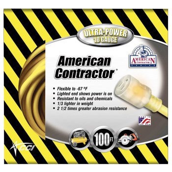 Coleman Cable 01799 American Contractor Series Outdoor Extension Cord, Yellow ~ 100 feet