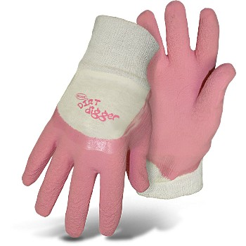 Ladies Gloves, Dirt Digger - Pink ~  Extra Small
