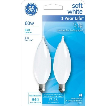 Bent Tip CA10 Decorative Bulb - 60 watt ~ Frosted