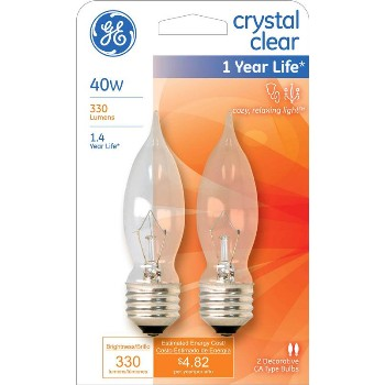 Bent Tip CA10 Decorative Bulb - 40 watt ~ Clear