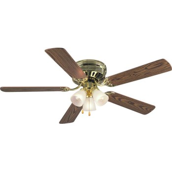 Bermuda Design Series Ceiling Fan, Polished Brass Finish ~ 5 Blade