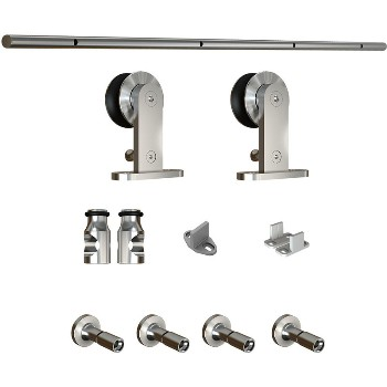 Sliding Door Track w/ Hardware ~ Satin Nickel