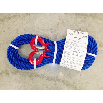 "Triple S Rope  TS-6.25HH15 Polypropylene Hook x Hook Tow Rope, 6,250 Lb ~ 5/8"" x 15 Ft."