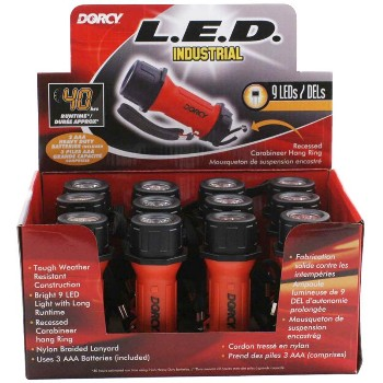 Dorcy Intl 41-6243 Flashlight ~ Industrial Pack,  9 LEDs/AAA